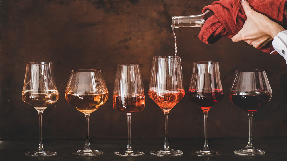 glasses of various kinds of wine