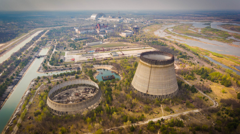 An aerial view of one of Chernobyl's towers