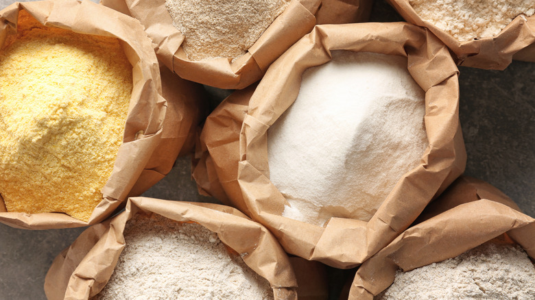 Paper bags of different types of flour