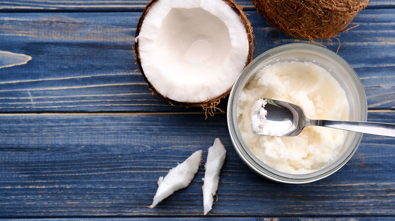 coconut with coconut oil