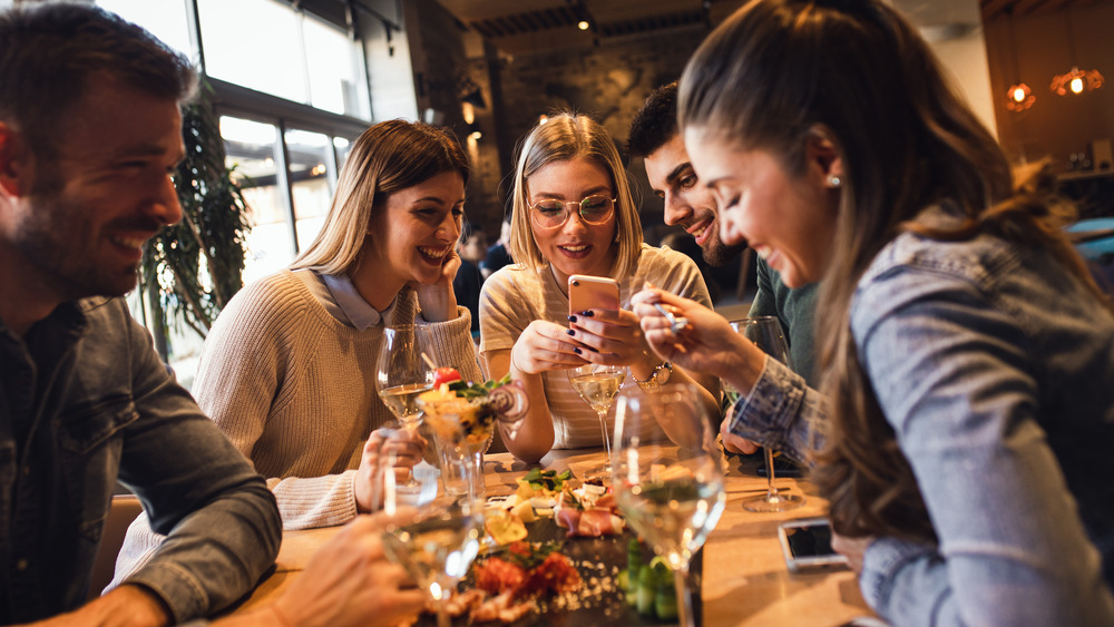Group of friends in restaurant