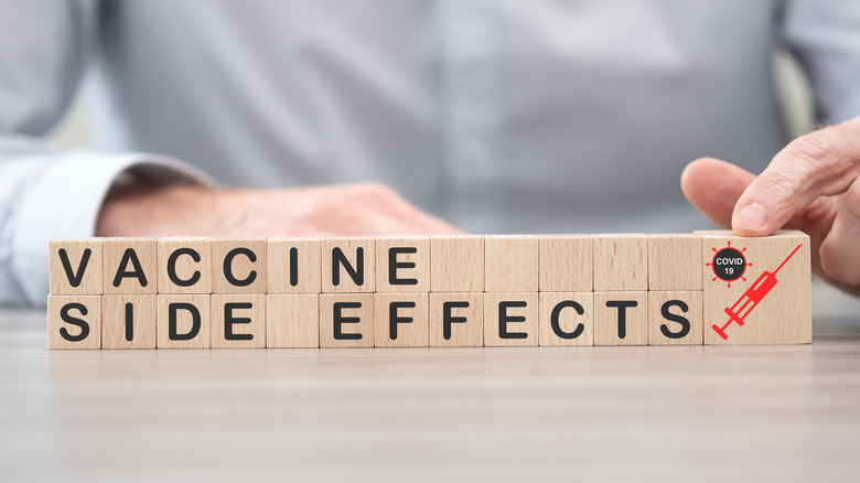 """Wood blocks with """"vaccine side effects"""""""
