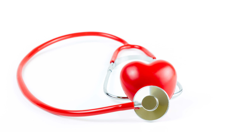 Plastic heart with stethescope