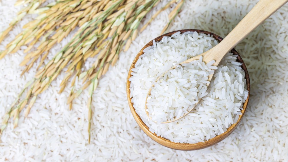 rice in a bowl and on a table