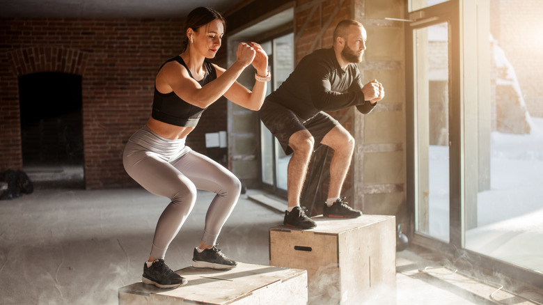 A couple does a CrossFit workout together