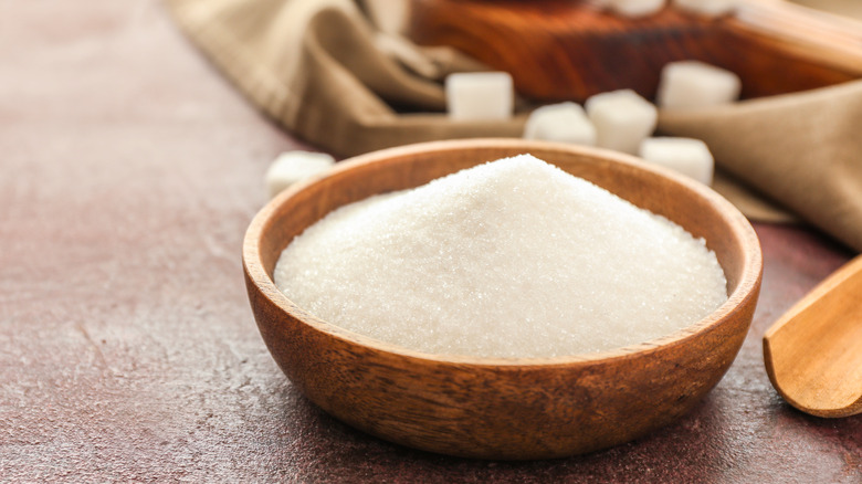 bowl of sugar on a table
