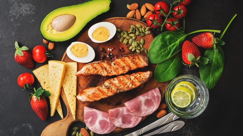 Low-carb foods on a dark background