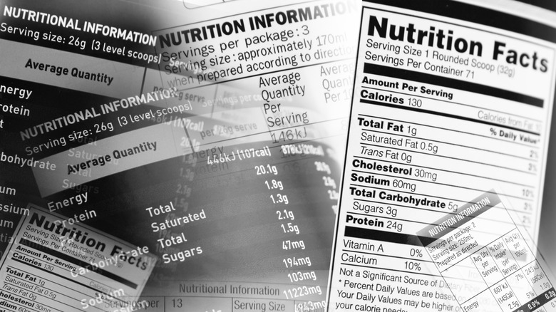 Nutrition facts labels piled together