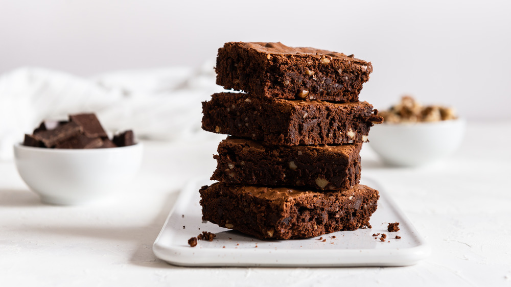 A stack of chocolate brownies