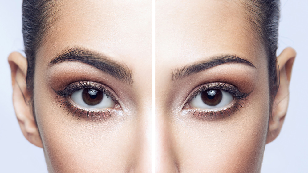 side by side view of a woman with thick and thin eyebrows