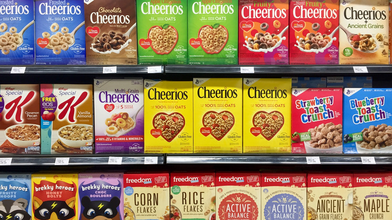 Cereal boxes on shelf at grocery store