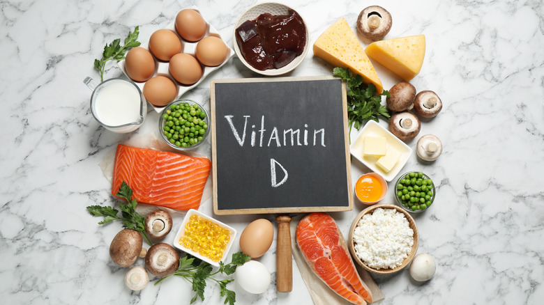 Assorted foods and vitamin D sign