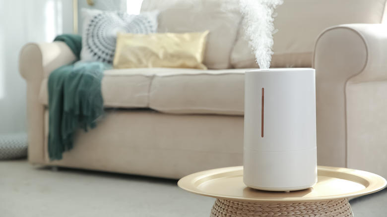 Humidifier on table in home